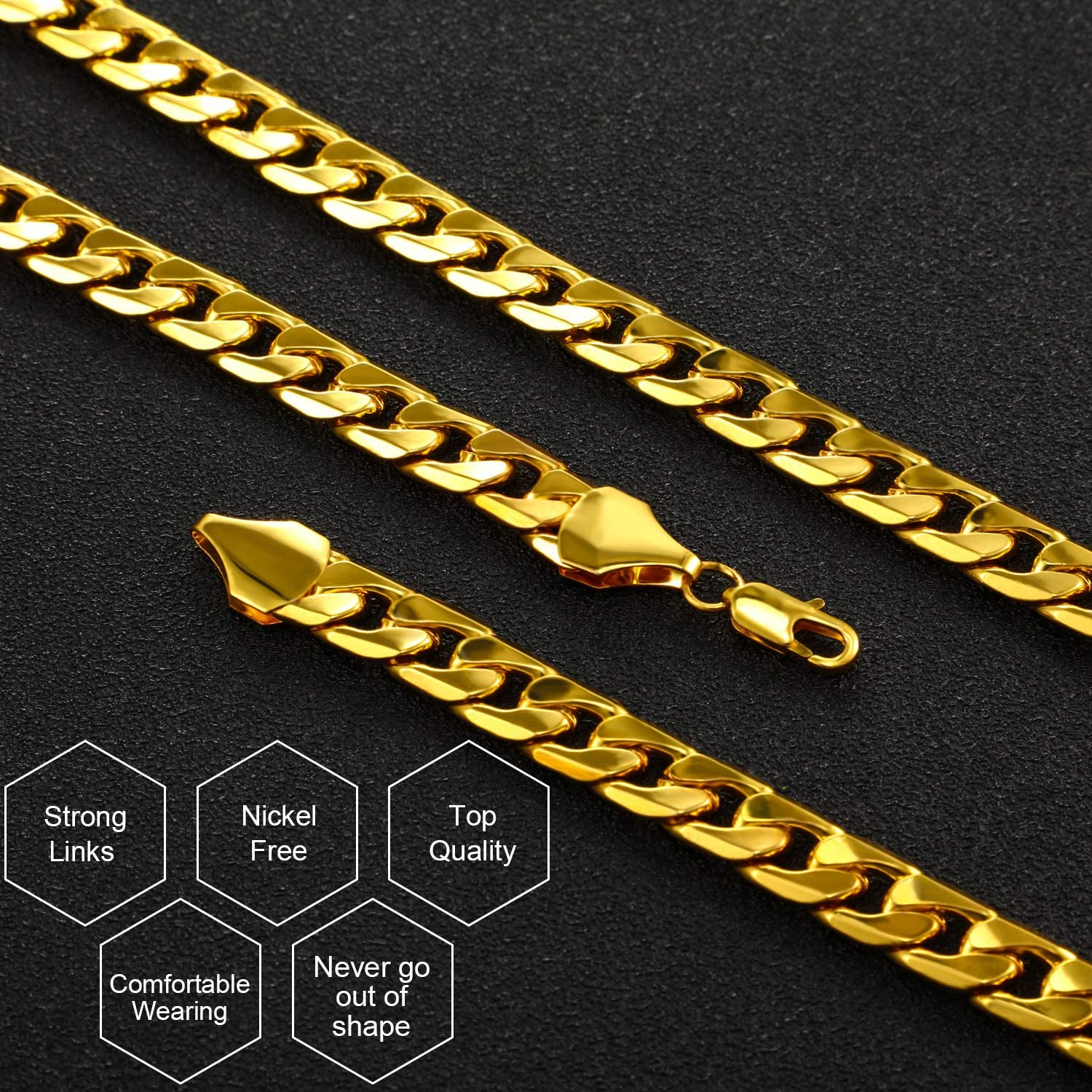 4 Pieces Hip Hop Rapper Faux Gold Chain Necklace Chunky Necklace Stainless Steel Chain for 80's, 90's Punk Style Hip Hop Chain Necklace, 8 MM 24 Inch Long