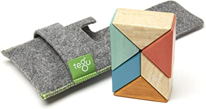 6 Piece Tegu Pocket Pouch Prism Magnetic Wooden Block Set, Sunset