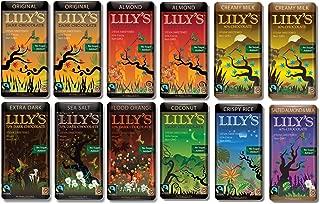 Lily's Chocolate Variety 12 Pack (2 of Each. Original, Almond, Creamy Milk)(1 of Each. Coconut, Crispy Rice, Salted Almond & Milk, Extra Dark Chocolate, Blood Orange, Sea Salt)