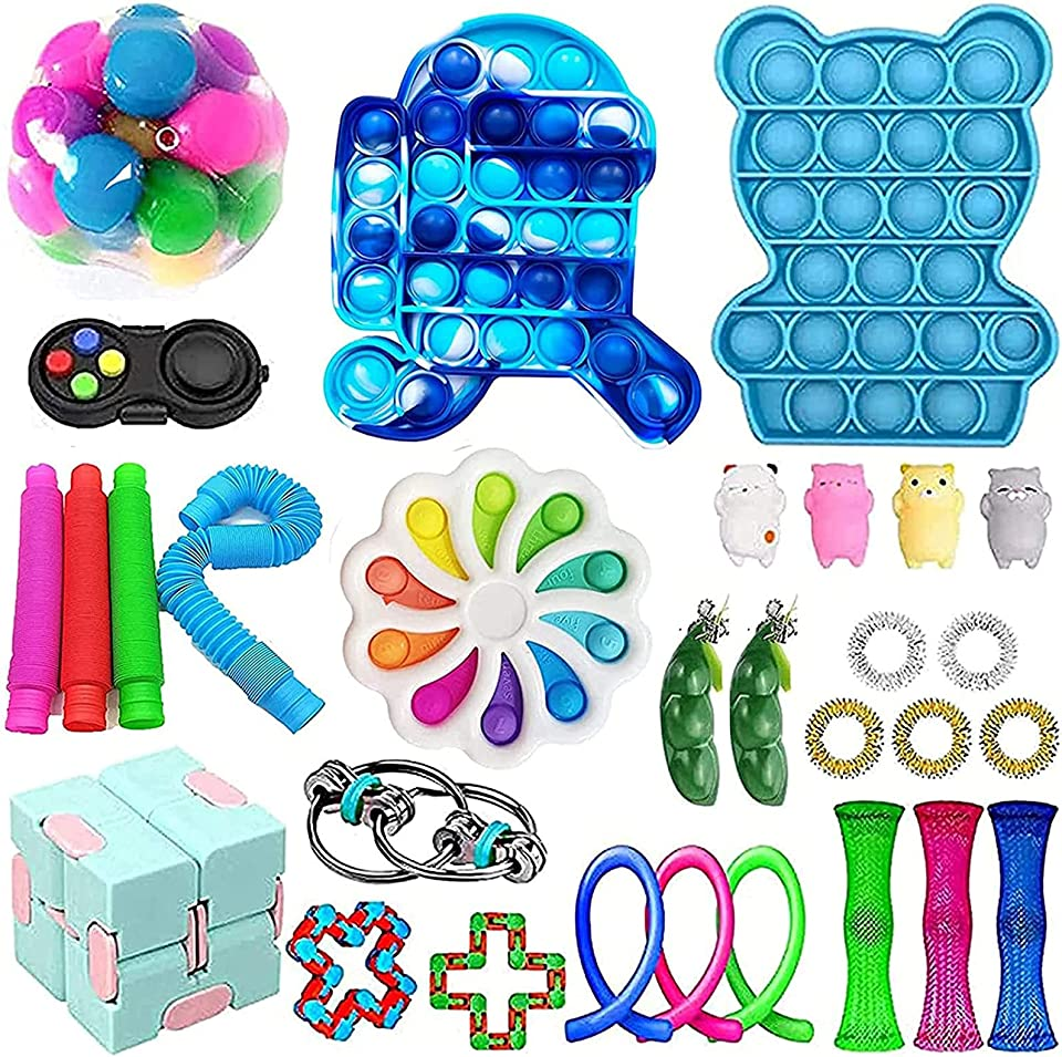 Sensorisches Fidget Toys Spielzeug Set für Autismus ADHS-Menschen, Anti Stress Push Pop Bubble Simple Squeeze Toys Stressball für Kinder und Erwachsene Geschenk Figetttoys