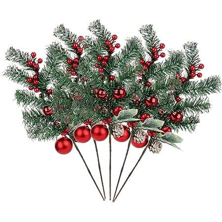5PCS Christmas Artificial Berry Pine Cone Branches Fake Flower Wreath Xmas Decor