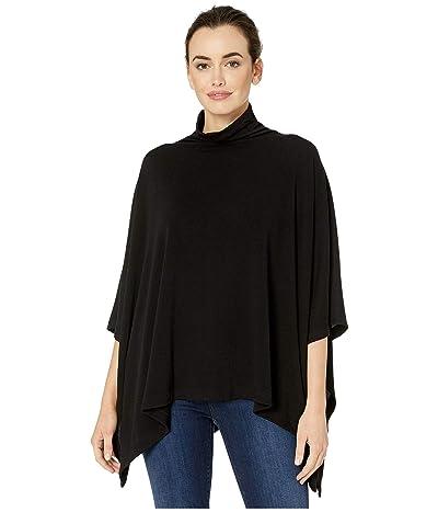 Karen Kane Funnel Neck Sweater Poncho (Black) Women