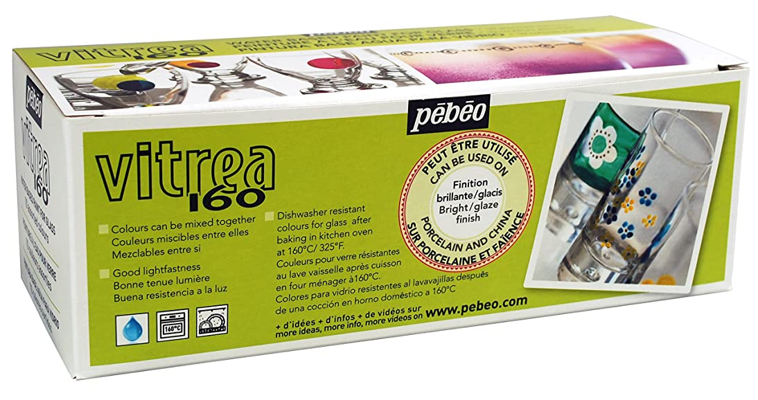 Pebeo Vitrea 160, Set of 10 Assorted Glossy Glass Paint Colors, 45 ml Bottles