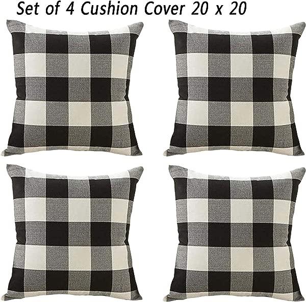 Doupoo Farmhouse Set Of 4 Square Tartan Cotton Throw Pillow Case Plaids Cushion Cover 20 X 20 Pillow Cover Decorative 20 X 20 Inch A Style Black 02