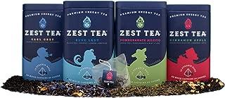Zest Tea Premium Energy Hot Tea Sampler Kit, High Caffeine Blend Natural & Healthy Coffee Substitute, Perfect for Keto, Apple Cinnamon, Blue Lady, Earl Grey, Pomegranate Mojito, 60 Sachet Bags