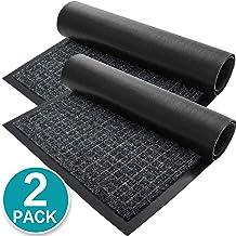 2-Pack Checkered Door Floor Mat-Indoor Outdoor Rug,Low-Profile Entryway Welcome Mats with Rubber Backing for Shoe Scraper,...