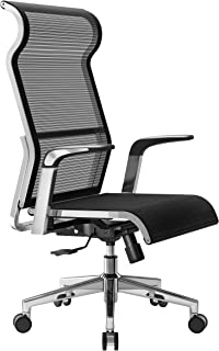 Office Chair, Computer Desk Chair, Metal Frame with Large Headrest and High-Back Mesh, Adjustable Swivel Task Chair (Black)