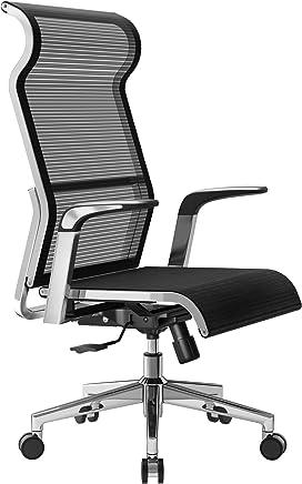 Sihoo 符合人体工程学的办公椅电脑桌椅?? 大头枕套高背网椅金属设计框架可调节旋转工作椅?¡§黑色? ? ?