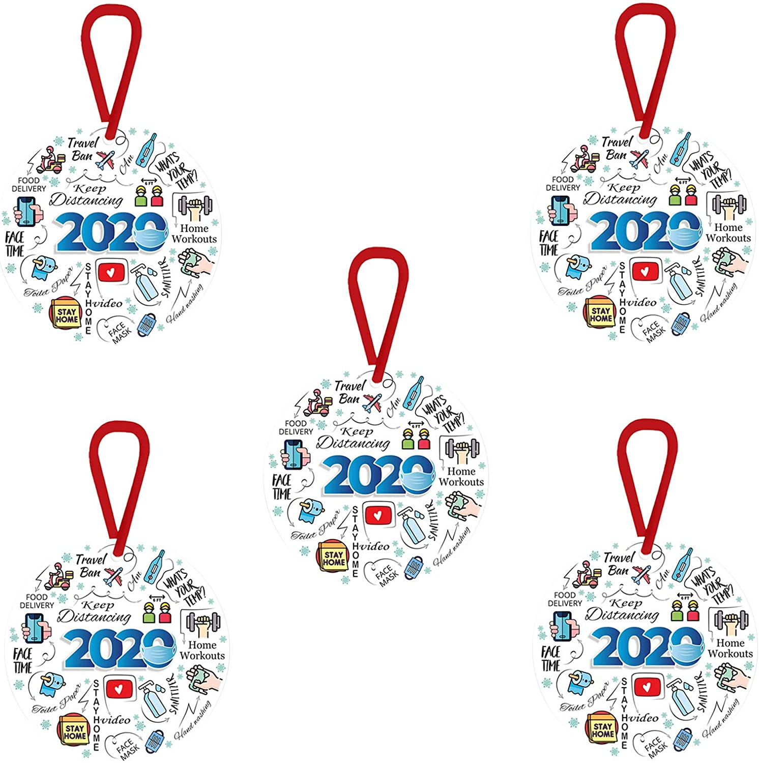 Mask Ornament Keep Distancing 2020 Xmas Tree Hanging Ornament Souvenir Pendant Gift Tree Accessories 2020 Annual Events Christmas Ornament Quarantine Personalized Keepsake Decorations 5, 2020