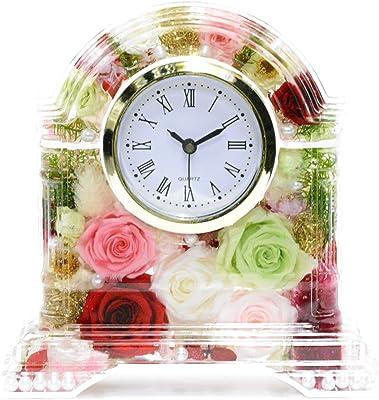 Lulu's ルルズ ハーバリウム 花時計 Flower clock アップルレッド プリザーブドフラワー ドライフラワー サイズ:14×13×4cm アップルレッド Lulu's-1422