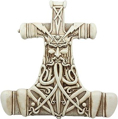 Ebros Thor Hammer Wall Decor Viking God Thor Bone Mjolnir Wall Plaque Thunder God Avatar Figurine Collectible
