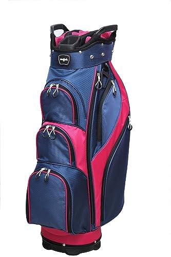 Majek Premium Ladies Navy Blue Pink Golf Bag