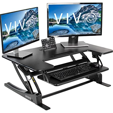 VIVO Black Height Adjustable 36 inch Stand up Desk Converter Quick Sit to Stand Tabletop Dual Monitor Riser, DESK-V000V