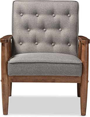 Baxton Studio BBT8013-Grey Chair armchairs, Grey