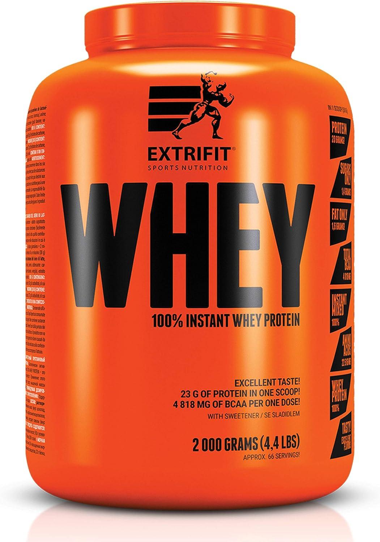 Extrifit 100% Instant Whey Protein Powder 2000gr 4.4lbs Músculo que construye aminoácidos sin azúcar (Chocolate - Coco)