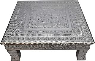 Pooja Bazar Puja Bajot Wooden Small Chowki Table Silver Kalash Chaurang - 15