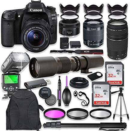 $1379 Get Canon EOS 80D DSLR Camera with 18-55mm Lens Bundle + Canon EF 75-300mm III Lens, Canon 50mm f/1.8 & 500mm Lens + TTL Flash + Canon Backpack + 64GB Memory + Monopod + Professional Bundle …