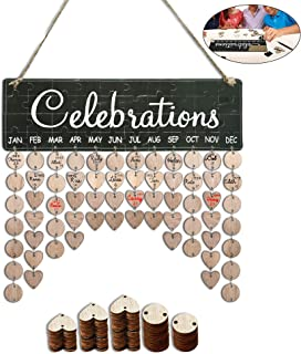 YuQi [Presents for Moms Dads] Family Birthday Tracker Calendar Board Wall Hanging,DIY Wooden Celebrations Reminder Plaque with Tag for Home Classroom Bar Wall Decorations- Best Mom Grandma Gifts