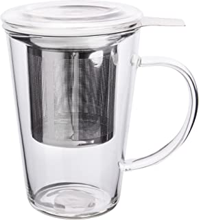 Enindel Fashion Simple Style Glass Tea Mug with Infuser and Lid Tea Cup 14 ounces