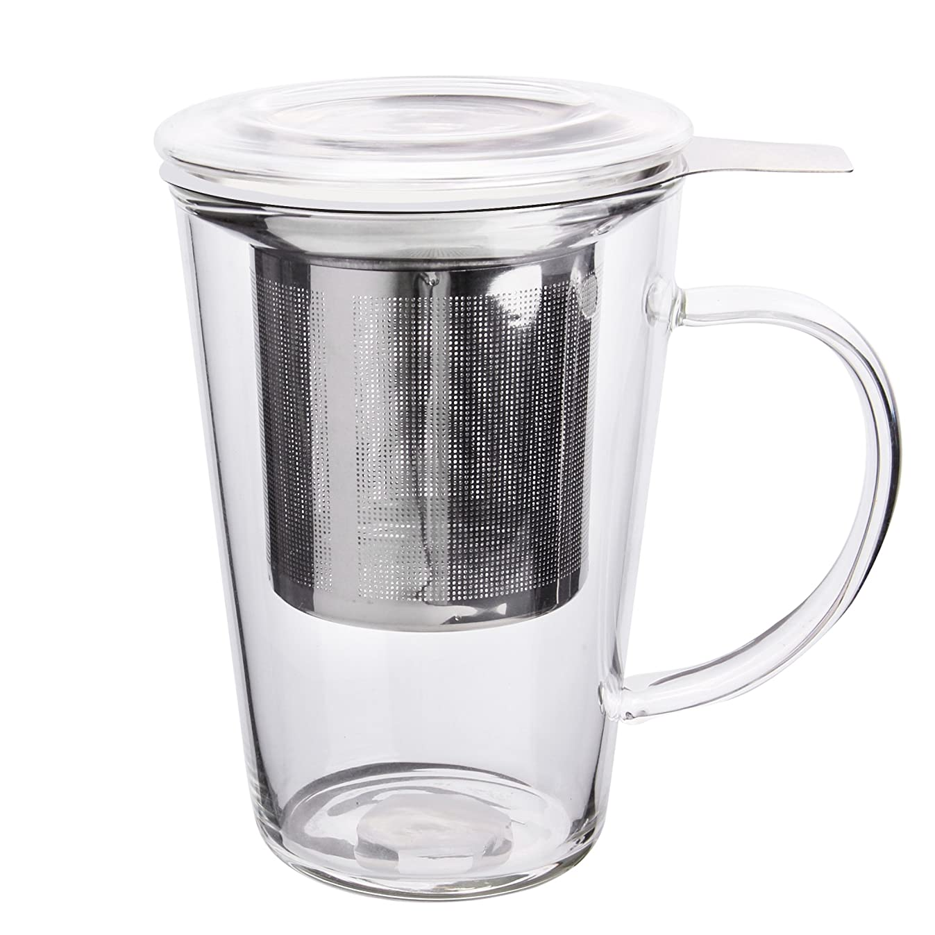 Enindel Fashion Simple Style Tea Mug with Infuser and Lid Glass Tea Cup 14 OZ (Glass set of 1)