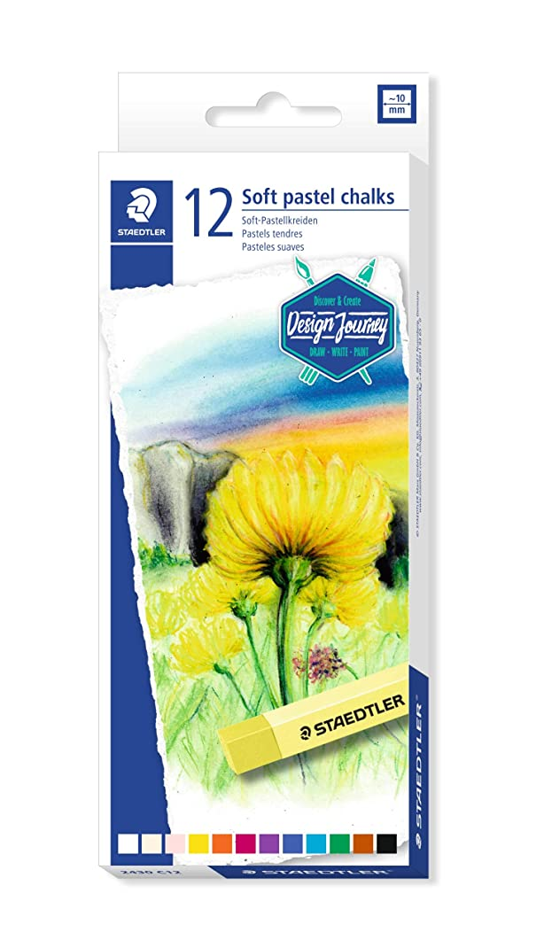 Staedtler Karat Premium Quality Soft Pastel Chalks Set of 12 colors in Heavy-Duty Cardboard Storage Case (2430C12)