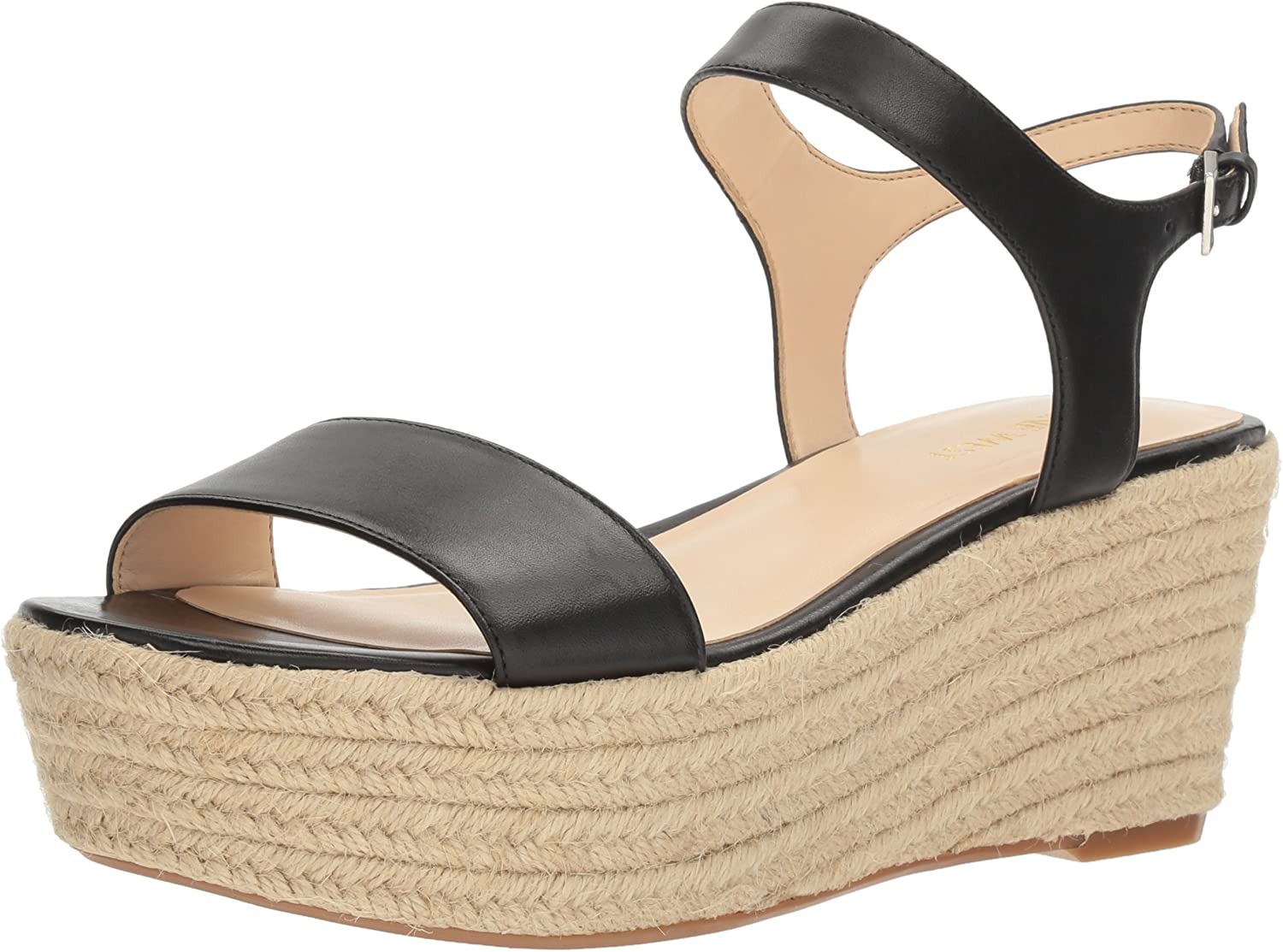 Nine West Womens Flownder Leather Wedge Sandal