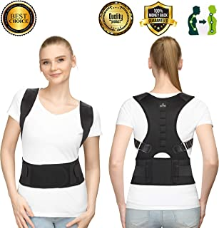 SOMAZ Adjustable Posture Corrector for Men&Women&Kids, Slouching Corrector, Clavicle Support, Back Straightener, Upper and Lumbar Back Brace Support for Rounded Shoulders & Back Pain FDA Approved (M)