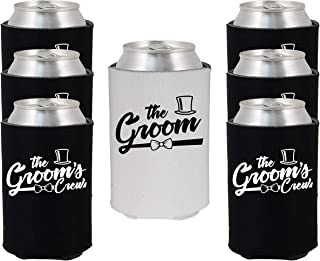 Shop4Ever The Groom and Groom's Crew Top Hat Bow Tie Can Coolie Wedding Drink Coolers Coolies (Blk, 6 Pk, Hat)