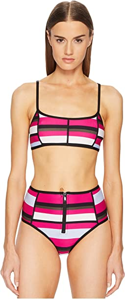 Proenza Schouler - Striped Two-Piece Bikini Set w/ Sporty Top & High-Waist Bottom