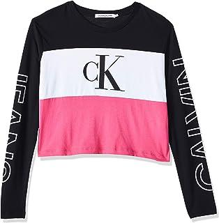 Calvin Klein Women's BLOCKING STATEMENT LOGO LS TEE L/S T-Shirt