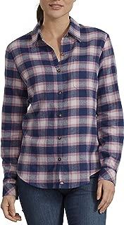 Dickies Women's Long-Sleeve Plaid Flannel Shirt, Deep Blue/Wild Thistle, 2X-Large