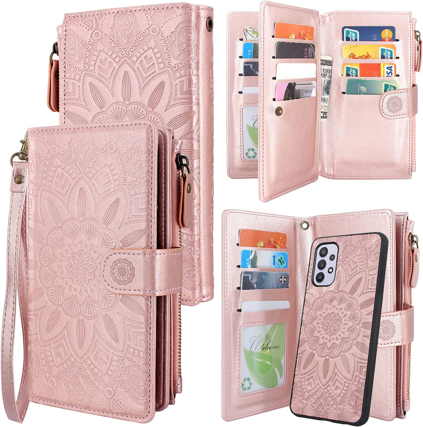 Harryshell Detachable Magnetic Zipper Wallet Leather Case with Cash Coin Pocket 12 Card Slots Holder Wrist Strap Lanyard for Samsung Galaxy A32 5G (2021) Flower (Rose Gold)