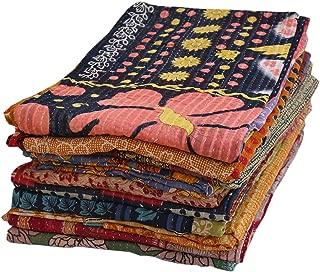 Stylo Culture Indian Vintage Kantha Sari Blankets Throws Quilts Wholesale Twin Printed Kantha Bengali Gudri Throw Blankets Ralli Gudri lot of 5 Pc