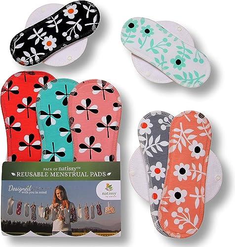 Serviette hygiénique lavable bio coton; lot de 7 (toutes les tailles); serviette hygiénique réutilisable FABRIQUÉE EN...