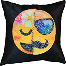 40cm by 40cm or 16x16 Sequined Emoji Throw Pillow Case with Dual Design Magic Reversible Sequin Throw Cushion Cover