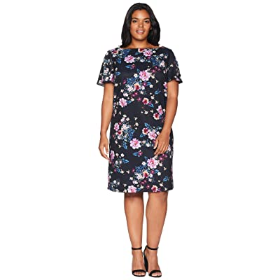 Tahari by ASL Plus Size Short Sleeve Shift Floral Dress (Navy/Dahlia/Royal) Women