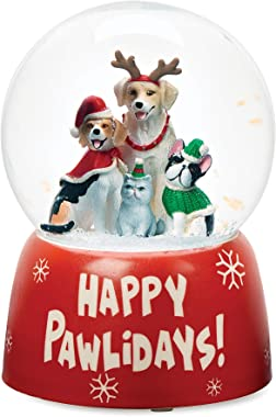 """Roman - Musical Christmas Dogs Glitterdome, Happy Pawlidays, 100mm, Wind Up, 6"""" H, Ceramic, Christmas Collection, Home De"""