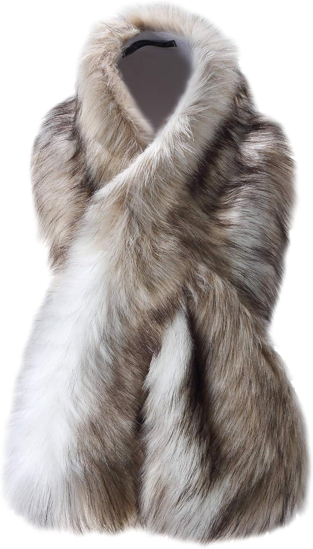Caracilia Women Winter Warm Fake Faux Fur Scarf Wrap Collar Shawl Shrug