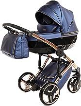 Sistema de viaje 3 en 1, silla de paseo, carrito con capazo y silla de coche y accesorios Junama Diamond Fluo (01 Kupfer-Fluo Blau, 2IN1)