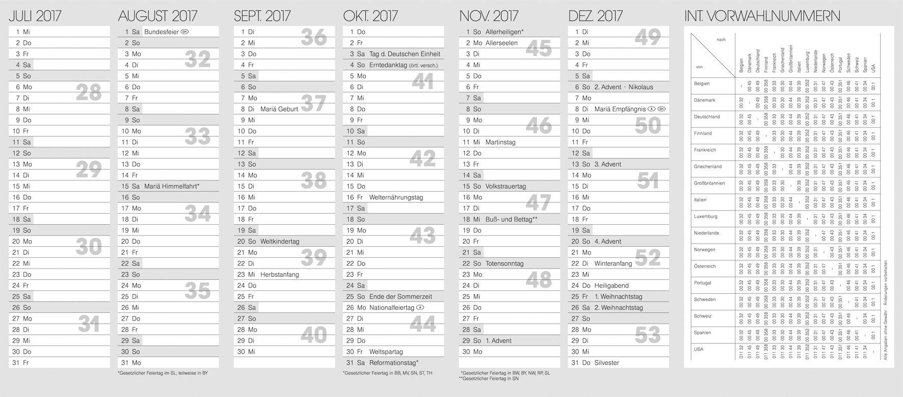 BRUNNEN 1070010 Timer - Calendario anual 2017, 87 x 153 mm (podría no estar en español): Amazon.es: Oficina y papelería
