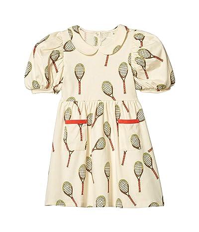 mini rodini Tennis All Over Printed Short Sleeve Dress (Toddler/Little Kids/Big Kids) (Off-White) Girl