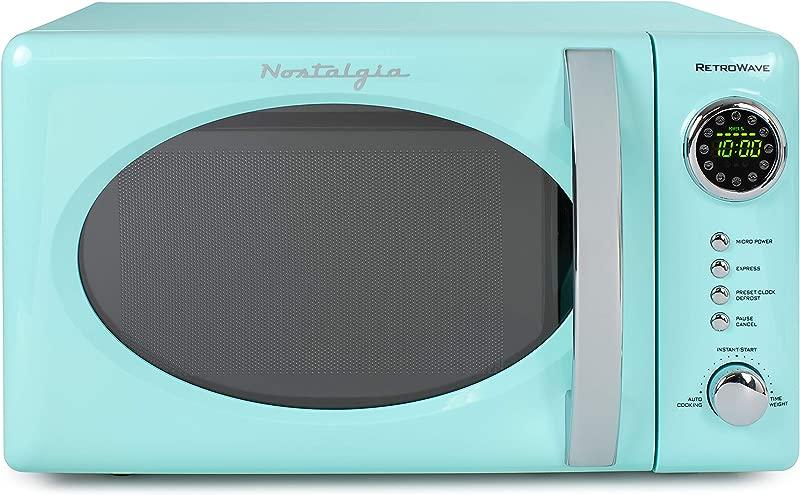 Nostalgia RMO7AQ Retro 0 7 Cu Ft 700 Watt Countertop Microwave Oven 12 Pre Programmed Cooking Settings Digital Clock Easy Clean Interior Aqua