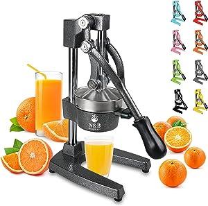 Professional Commercial Grade Juicer Manual Hand Citrus Press Orange Squeezer Heavy Duty Orange Juicer Metal Lemon Squeezer Premium Quality Upgrade,Dark Grey