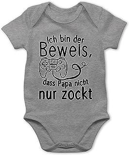 Shirtracer Vatertagsgeschenk Tochter & Sohn Baby - Ich Bin der Beweis, DASS Papa Nicht nur zockt - Baby Body Kurzarm für Jungen und Mädchen