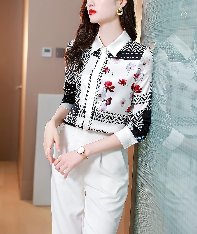 BEST-F-U Women's Retro Floral Print Blouse Button Down Shirt Casual Top