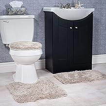 Lavish Home 3-Piece Super Plush Non-Slip Bath Mat Rug Set Taupe