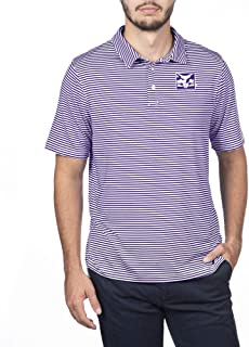 NCAA New York University Male Team Color Stretch Bunker Polo, New York University Violets Purple, Medium