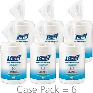 PURELL Hand Sanitizing Wipes Alcohol Formula, Fragrance Free, 175 Count Hand Sanitizing Wipes Canisters (Pack of 6) - 9031-06