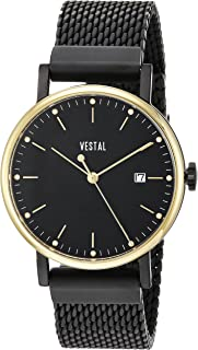 Vestal 'Sophisticate 36 Metal' Swiss Quartz Stainless Steel Dress Watch, Color Black (Model: SP36M12.MGDM)