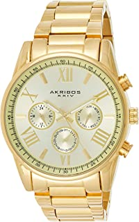 Akribos XXIV Men's Gold Multifunction Dual Time Zone Watch - Bezel with Inner Tachymeter Scale - Sunburst Dial with Date/D...